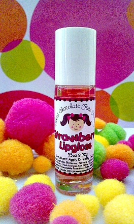 Strawberry Roll-On Lipgloss-kids lipgloss, natural lipgloss , bubblegum lipgloss